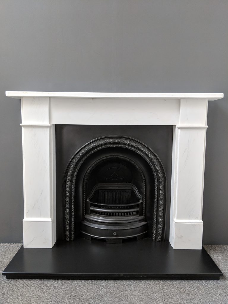 Flat Victorian White Marble Surround And Scotia Cast Iron Arched Package Rps Fireplaces